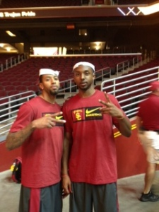 J.T. Terrell (left) and Byron Wesley pose at the Galen Center Fall Sports Rally. (Russell Simon/Galen Central)