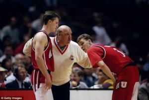 Drew Hansen (right) with legendary Utah coach Rick Majerus, who spent literally five days as USC's head coach. (Daily Mail UK)