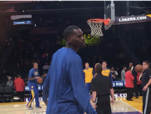 Dewayne Dedmon shoots around for the Golden State Warriors before a game against the Los Angeles Lakers.