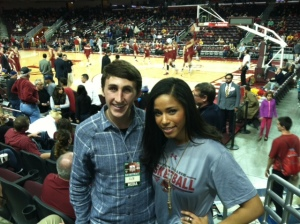 Former USC Song Girl Shea Jackson wore Boston College gear to the game to support her brother, Lonnie.