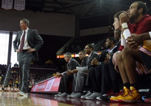 Andy Enfield and the USC basketball coaching staff (Seth Rubinroit/Galen Central)