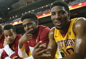 USC guards Chass Bryan, Brendyn Taylor and Pe'Shon Howard (Seth Rubinroit/Galen Central)
