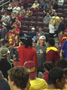 From left, Matt Leinart, Jordan Hill, Luke Walton and Nick Young. (Micah Rosenberg)