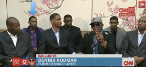 Former USC wing Jerry Dupree with Dennis Rodman in North Korea (CNN)