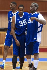 Jerry Dupree (35) with Dennis Rodman in North Korea. (Courtesy of Jerry Dupree)