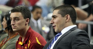 Jordan Flatt (right) served as a USC basketball student manager for five seasons (Seth Rubinroit/Galen Central)