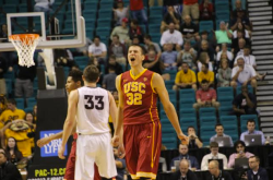 Nikola Jovanovic lets out a scream after blocking Shaquielle McKissic's in the game's final seconds. (Photo by Josh Faskowitz)