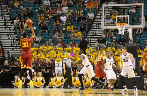 Elijah Stewart nails another three in the second half against Arizona State. (Photo by Josh Faskowitz)