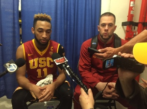 Jordan McLaughlin (left) led the Trojans with 23 points on Wednesday.