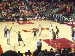 Jordan McLaughlin shoots a three against Cal. (Max Meyer/Galen Central)