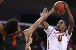 USC Trojans guard Shaqquan Aaron (0) shoots the ball during the second half of an NCAA college basketball game on Sunday, Jan. 25, 2017, in Los Angeles. (Michael Yanow)